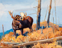 LUKE FRAZIER (American, b. 1970) Shrias Moose - Wyoming Oil on panel 13-1/2 x 17-1/2 inches (34
