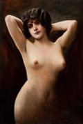 Fine Art - Painting, American:Contemporary   (1950 to present)  , FROM THE ESTATE OF CHARLES MARTIGNETTE.. AMERICAN ARTIST (20thCentury). Standing Nude. Oil on canvas. 31 x 21 inc...