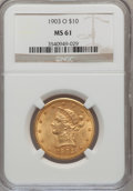 Liberty Eagles: , 1903-O $10 MS61 NGC. NGC Census: (345/349). PCGS Population(173/419). Mintage: 112,771. Numismedia Wsl. Price for problem ...