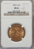 Liberty Eagles: , 1885-S $10 MS62 NGC. NGC Census: (237/66). PCGS Population(241/76). Mintage: 228,000. Numismedia Wsl. Price for problem fr...