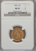 Liberty Half Eagles: , 1857 $5 AU55 NGC. NGC Census: (49/164). PCGS Population (34/65).Mintage: 98,180. Numismedia Wsl. Price for problem free NG...