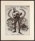 "Boxing Collectibles:Memorabilia, 1909 Jack Johnson ""Champion of the World"" Poster. ..."