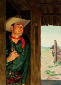 Pulp, Pulp-like, Digests, and Paperback Art, GEORGE GROSS (American, 1909-2003). Duel on the Range, paperbackcover. Oil on canvas laid on board. 16 x 11.5 in.. Sign...