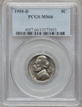 Jefferson Nickels: , 1955-D 5C MS66 PCGS. PCGS Population (30/0). NGC Census: (84/0).Mintage: 74,464,096. Numismedia Wsl. Price for problem fre...