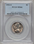 Jefferson Nickels: , 1953-S 5C MS66 PCGS. PCGS Population (85/1). NGC Census: (136/14).Mintage: 19,210,900. Numismedia Wsl. Price for problem f...