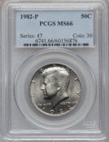 Kennedy Half Dollars: , 1982-P 50C MS66 PCGS. PCGS Population (154/7). NGC Census: (36/3).Mintage: 10,819,000. Numismedia Wsl. Price for problem f...