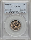 Jefferson Nickels: , 1959-D 5C MS66 PCGS. PCGS Population (40/0). NGC Census: (143/15).Mintage: 160,738,240. Numismedia Wsl. Price for problem ...