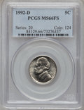 Jefferson Nickels: , 1992-D 5C MS66 Full Steps PCGS. PCGS Population (43/2). NGC Census:(1/0). (#84129)...