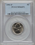 Jefferson Nickels: , 1991-P 5C MS66 Full Steps PCGS. PCGS Population (39/0). NGC Census: (9/7). (#84126)...