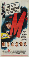 "Movie Posters:Crime, M (Columbia, 1951). Three Sheet (41"" X 81""). Crime.. ..."