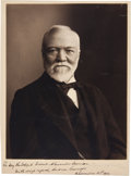Autographs:Celebrities, Andrew Carnegie Photograph Inscribed and Signed,...