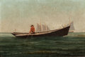 Fine Art - Painting, American:Contemporary   (1950 to present)  , FROM THE ESTATE OF CHARLES MARTIGNETTE.. AMERICAN ARTIST (20thCentury). Fisherman at Sea. Oil on canvas . 6 x 9 i...