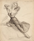 Pin-up and Glamour Art, HARRY EKMAN (American, 1923-1999). Seated Pin-Up. Pencil onpaper. 20.5 x 17.5 in.. Signed upper right. From the Est...