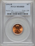 Lincoln Cents: , 1991-D 1C MS68 Red PCGS. PCGS Population (128/3). NGC Census:(54/0). Numismedia Wsl. Price for problem free NGC/PCGS coin...