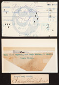 Baseball Collectibles:Others, Legendary Baseball Owners Signed Cut Signatures Lot of 3....