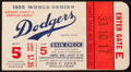 Baseball Collectibles:Tickets, 1955 World Series Game 5 Ticket Stub....