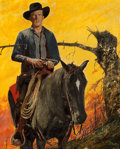 Pulp, Pulp-like, Digests, and Paperback Art, EARL MAYAN (American, 1916-2009). The Outlaw of Longbow,paperback cover, 1952. Oil on board. 20 x 16 in.. Signed lower...