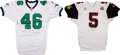 Football Collectibles:Others, Arena Football League Game Used Footballs and Jerseys Lot of 4....