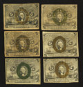Fractional Currency:Second Issue, Mixed Lot of 5¢ Second Issue Notes. Very Good to Extremely Fine. Six Examples.. ... (Total: 6 notes)