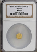 California Fractional Gold: , 1871 25C Liberty Round 25 Cents, BG-838, R.2, MS63 NGC. NGC Census:(10/7). PCGS Population (53/23). (#10699)...