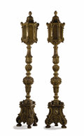 Decorative Arts, Continental:Lamps & Lighting, A Pair of Baroque-Style Carved And Silvered Floor Lamps(Torchieres). . Unknown maker, probably Italy. 19th century.Unmarke... (Total: 2 Items)