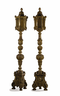 A Pair of Baroque-Style Carved And Silvered Floor Lamps (Torchieres) Unknown maker, probably Italy 19th cen