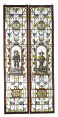 Glass, A Pair of Renaissance Revival Style Stained Glass Windows. Unknown maker, Continental. 19th century. Iron, leading, glass... (Total: 2 Items)