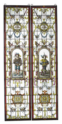 A Pair of Renaissance Revival Style Stained Glass Windows  Unknown maker, Continental 19th century Iron