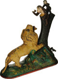 Antiques:Toys, Lion and Two Monkeys Cast Iron Mechanical Bank made by Kyser & Rex and patent dated 1883. The lion's glass eyes are accentua...