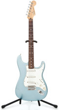 Musical Instruments:Electric Guitars, 2003 Fender Stratocaster MIM Blue Aguave Solid Body Electric Guitar#MZ30082...