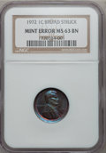 Errors, 1972 1C Lincoln Cents Broad Struck MS63 Brown NGC. NGC Census: (0/3). PCGS Population (6/2). Mintage: 2,933,224,960. Numism...