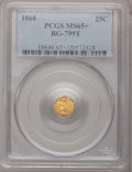 California Fractional Gold, 1868 25C Indian Octagonal 25 Cents, BG-799T, High R.5, MS65+PCGS....