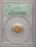 California Fractional Gold, 1868 $1 Liberty Octagonal 1 Dollar, BG-1105, High R.4, MS63PCGS....