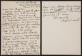 Baseball Collectibles:Others, Joe Wood Handwritten, Signed Letter....