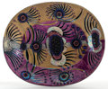 FROM THE ESTATE OF EVA SHURE  BIRGER KAIPIAINEN (FINNISH, 1915-1988) IRIDESCENT POLYCHROME OVAL CERAMIC BOWL