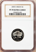 Proof Jefferson Nickels, (3)2005-S 5C Bison PR 70 Ultra Cameo NGC. ... (Total: 3 coins)