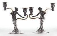 FROM THE ESTATE OF EVA SHURE  PAIR OF WMF PARCEL GILT ART NOUVEAU FIGURAL PEWTER TWO-LIGHT CANDELABRA Würte