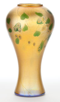 TIFFANY STUDIOS FAVRILE GLASS FLOWERED VINE VASE New York, New York, circa 1900 Marks: T.C. Tiffany - Favri