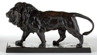 FRENCH PATINATED BRONZE AFTER ANTOINE-LOUIS BARYE (FRENCH, 1796-1875): LION QUI MARCHE