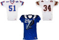 Football Collectibles:Uniforms, World League Game Worn Jerseys Lot of 3....