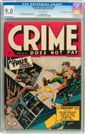 """Golden Age (1938-1955):Crime, Crime Does Not Pay #35 Davis Crippen (""""D"""" Copy) pedigree (Lev Gleason, 1944) CGC VF/NM 9.0 Off-white pages...."""