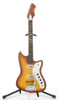 Musical Instruments:Electric Guitars, 1960's Airline Harmony Bobcat Sunburst Solid Body ElectricGuitar...