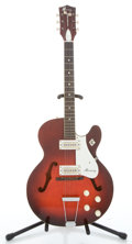 Musical Instruments:Electric Guitars, 1960's Harmony Rocket Red Burst Semi-Hollow Body Electric Guitar#1612H54...