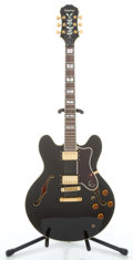 Musical Instruments:Electric Guitars, Recent Epiphone Sheraton Black Semi-Hollow Body Electric Guitar #S6085718...