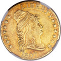 Early Half Eagles, 1807 $5 Bust Right AU55 NGC. Breen-6450, BD-3, High R.5....