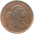 Large Cents, 1797 1C Reverse of 1797, Stems MS64 Red and Brown PCGS. S-135, B-5,R.3....