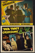 "Movie Posters:Crime, Dick Tracy Meets Gruesome and Other Lot (RKO, 1947). Lobby Cards(2) (11"" X 14"") and (10"" X 13""). Crime.. ... (Total: 2 Items)"