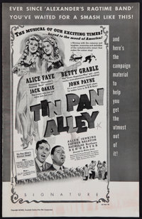 """Tin Pan Alley (20th Century Fox, 1940). Uncut Pressbook (20 Pages, 11"""" X 17""""). Musical"""