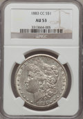 Morgan Dollars: , 1883-CC $1 AU53 NGC. NGC Census: (2/15473). PCGS Population (3/32852). Mintage: 1,204,000. Numismedia Wsl. Price for proble...