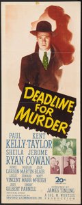 """Movie Posters:Crime, Deadline for Murder & Other Lot (20th Century Fox, 1946). Insert (14"""" X 36"""") & Lobby Cards (4) (11"""" X 14""""). Crime.. ... (Total: 5 Items)"""